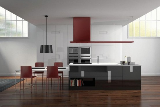 Ernestomeda Italian manufacturer kitchen made monochrome black and white solutions