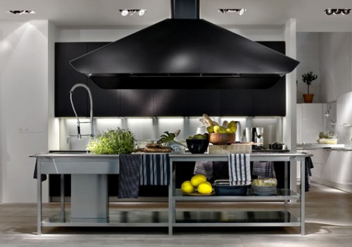 Excellent stainless steel kitchen combine with wooden materials