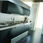 Exclusive black Italian Kitchen Design with round cabinets