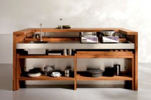 Freestanding Kitchen for indoor or outdoor kitchen made from teak and stainless steel