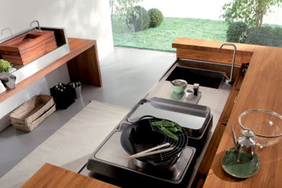 Freestanding Kitchen for indoor or outdoor kitchen made from teak stainless steel