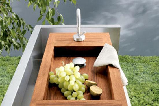Freestanding Kitchen for indoor outdoor kitchen made from teak stainless steel