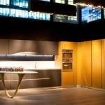 Futuristic kitchen design characterized by smooth rounded lines of corners