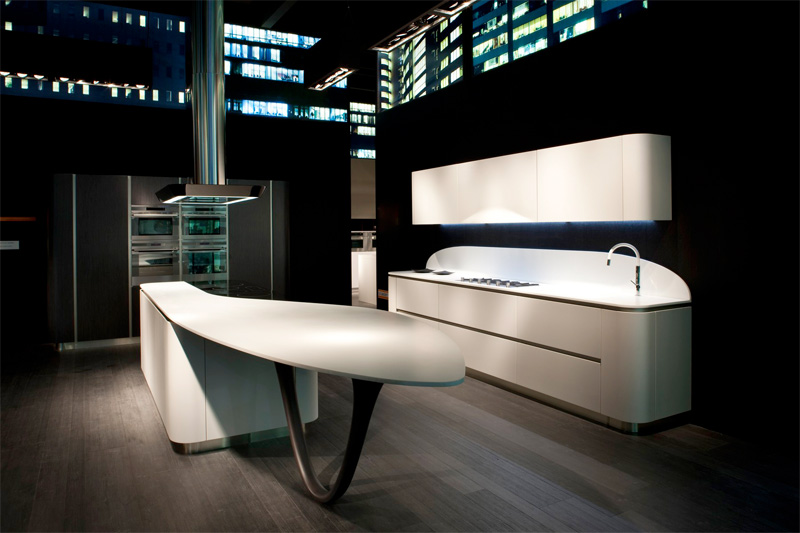 Futuristic Kitchen Design Characterized By Smooth Rounded