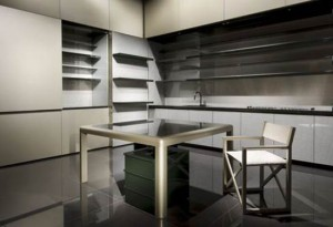 Giorgio Armani Calyx kitchen with long modern lines and bold flat accent