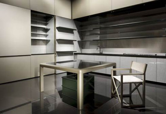 Giorgio Armani Calyx kitchen with long modern lines and bold flat accentGiorgio Armani Calyx kitchen with long modern lines and bold flat accent