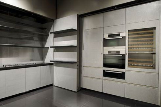 Giorgio Armani Calyx kitchen with long moderns lines and bold flat accent