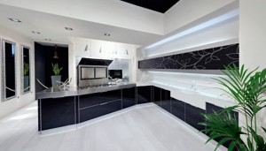 Glossy Kitchen Design picture with polished aluminum frame