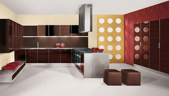 Glossy Kitchen Designs picture with polished aluminum frame