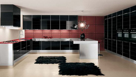 Glossy Kitchens Design picture with polished aluminum frame