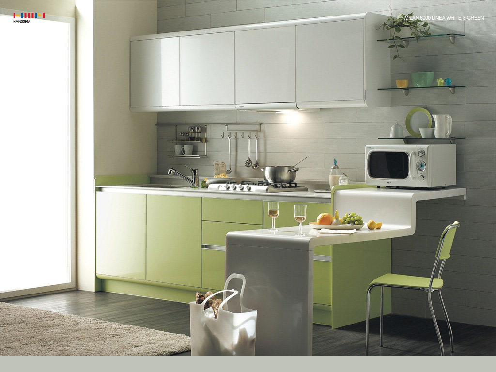 Green Kitchen Modern Interior Design ideas with white cabinet