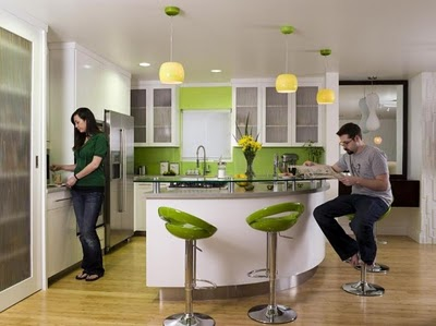 Green kitchen design signal wealth prosperity and growth for you who love bright colors