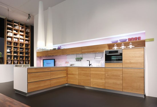 Handleles Kitchen Design made of natural wood Vao kitchens by Team7