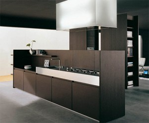 Iconic kitchen design with the forms partition the kitchen space of timeless elegance