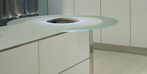 Illuminated Kitchen lighting Island Quick Silver from GeD Cucine with simple line and sleek