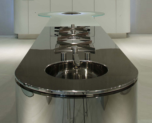 Illuminated Kitchen lighting Island Quick Silver from GeD Cucine with simple lines and sleek