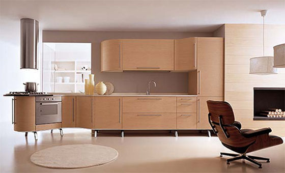 Italian  contemporary Kitchen combination of curves and straight line use oak veneer
