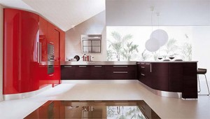 Italian contemporary Kitchen combination of curves and straight line use oak veneers