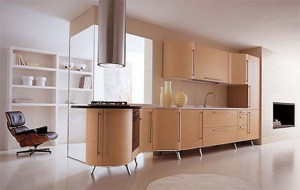 Italian contemporary Kitchen combination of curves straight line use oak veneers