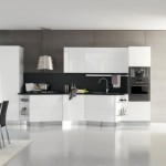 Italian kitchen manufacturer play of contrast and asymmetric shapes