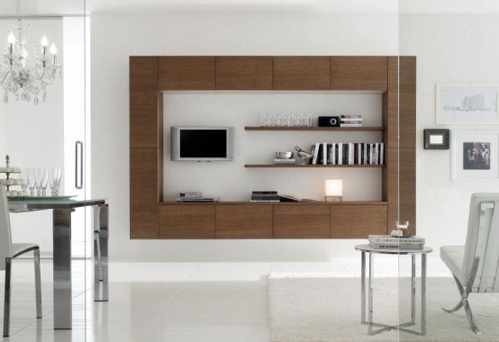 Italian kitchen manufacturer play of contrast asymmetric shapes