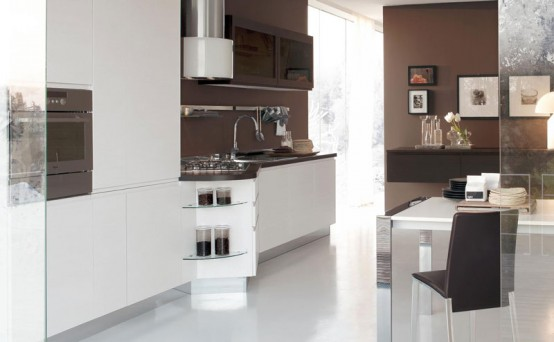 Italian kitchen manufacturer play of contrasts and asymmetric shape