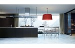Italian modern kitchen designed large scale made from cord glossy lacquer glas and ebony