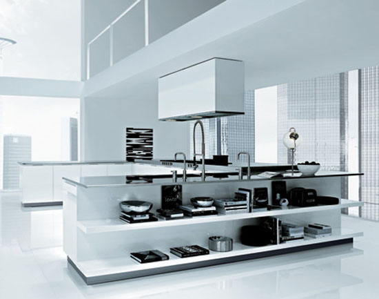 Italian modern kitchen designed large scale made from cord glossy lacquer glass and ebony