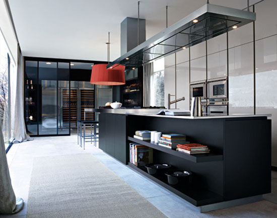 Italian modern kitchens designed large scale made from cord glossy lacquer glas ebony