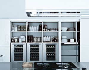 Italian modern kitchens designed large scale made from cord glossy lacquer glass ebony