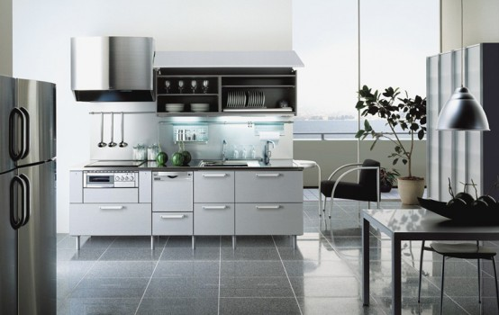 Japanese Kitchen Modern Design combination of gray white