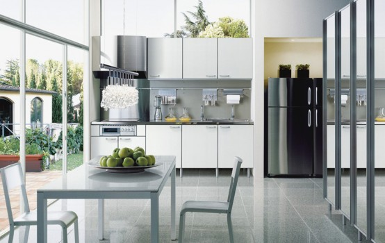 Japanese Kitchen Modern Design Combination Of Gray White Black And Metallic Colored Cabinets