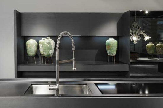 Kitchen cabinet with Glass on Top and door also Integrated Handle