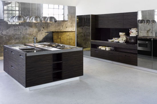 Kitchen cabinet with Glass on Top and door also Integrated Handles