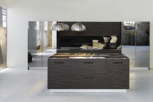 Kitchen cabinets with Glass on Top and door also Integrated Handles