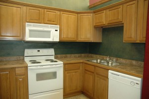 Kitchen oak cabinets brown and white