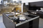 Kitchens cabinet with Glass on Top and door also Integrated Handles
