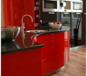 Luxury Kitchen Designs Ferrari sexy curve ergonomic kitchen design which look stunning in red