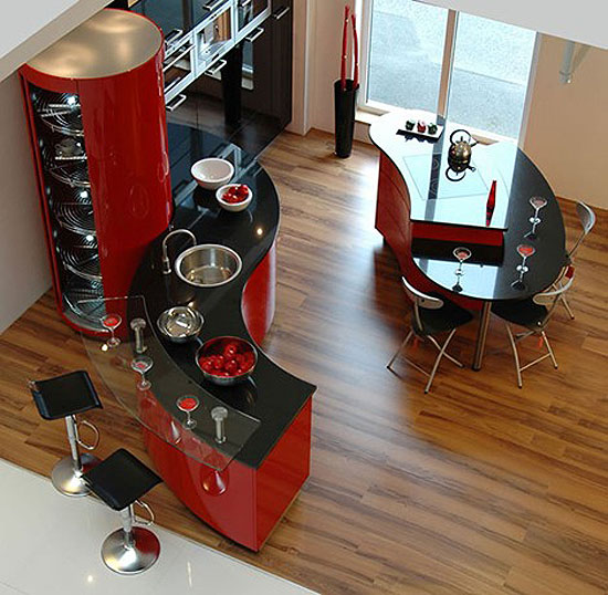 Luxury Kitchen Designs Ferrari sexy curves ergonomic kitchen design which look stunning in red