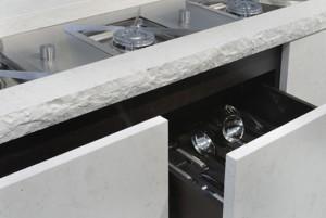 Mediteranean minimalism kitchen Using porphyry stone cedar wood  steel