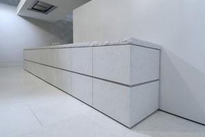 Mediterranean minimalism kitchen Using porphyry stone cedar wood steel