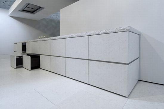 Mediterranean minimalism kitchen Using porphyry stone cedar woods and steel