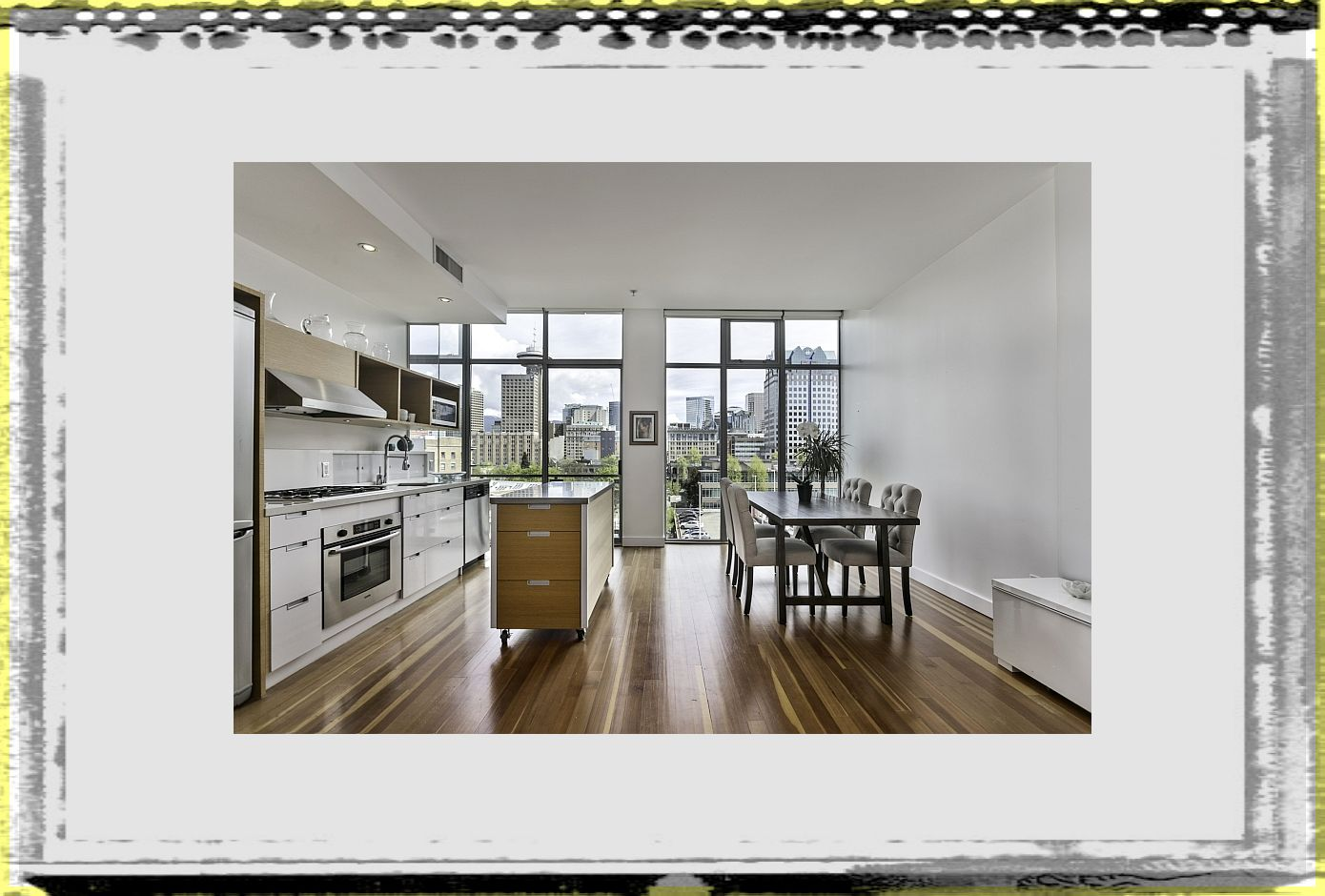 Mobile kitchen island inside loft Style Apartment In Vancouver apartment kitchen islands