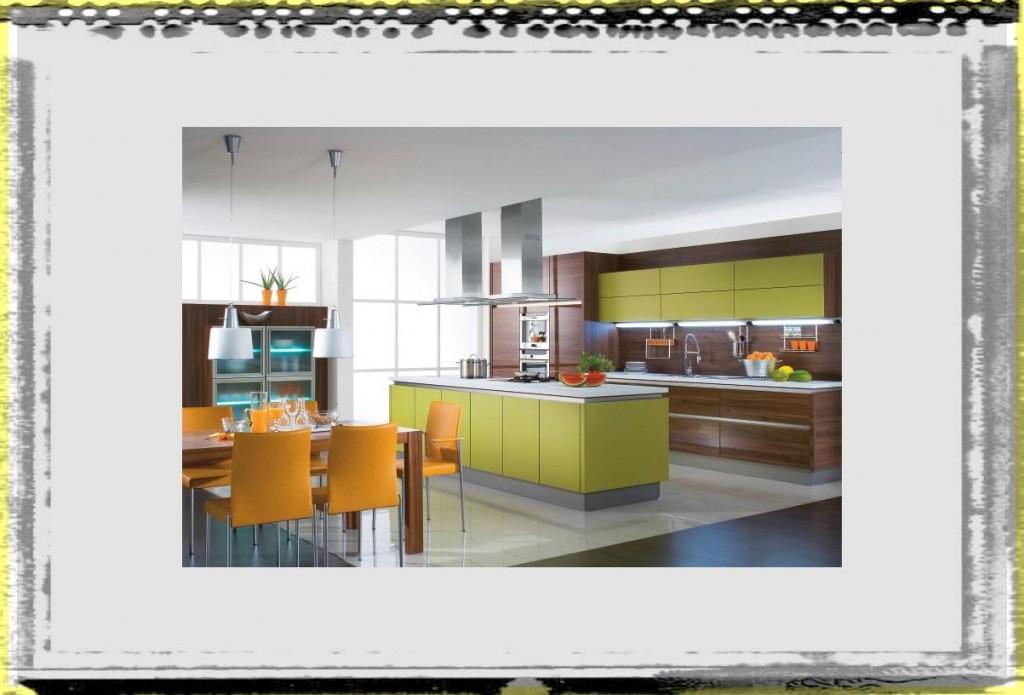 Modern Green Orange Open Kitchen Design idea open kitchen design