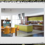 Modern Green Orange Open Kitchen Design idea open kitchen design