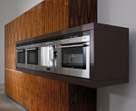Modern Kitchen wooden base right angles contrasting high gloss set wooden storage unit