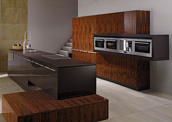 Modern Kitchen wooden base right angles contrasting high gloss set wooden storage units