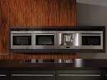 Modern Kitchens wooden base right angles contrasting high gloss set wooden storage unit