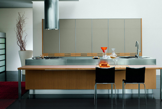 Modern Omnia kitchen use natural oak or grey oak furniture by Bontempi