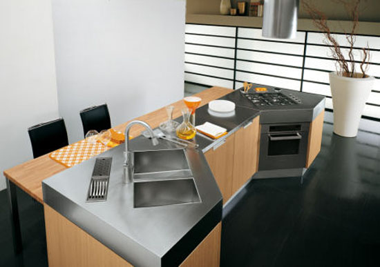 Modern Omnia kitchens use natural oak or grey oak furniture by Bontempi